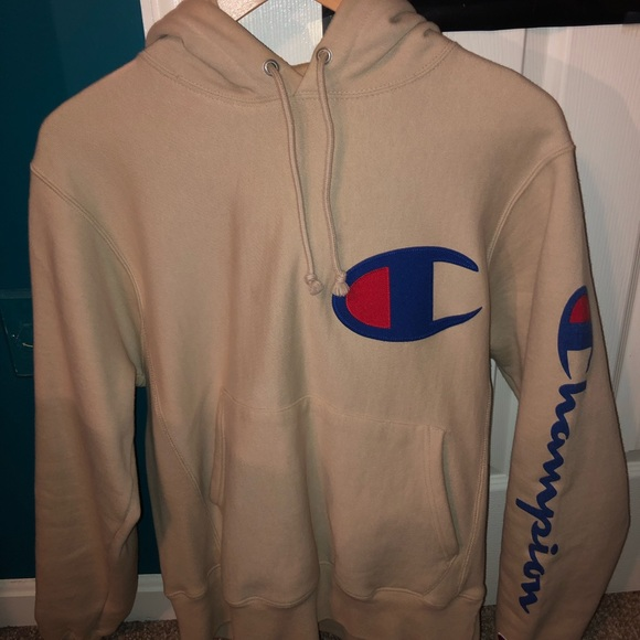 f521ff090ace Champion reverse weave tan hoodie big c